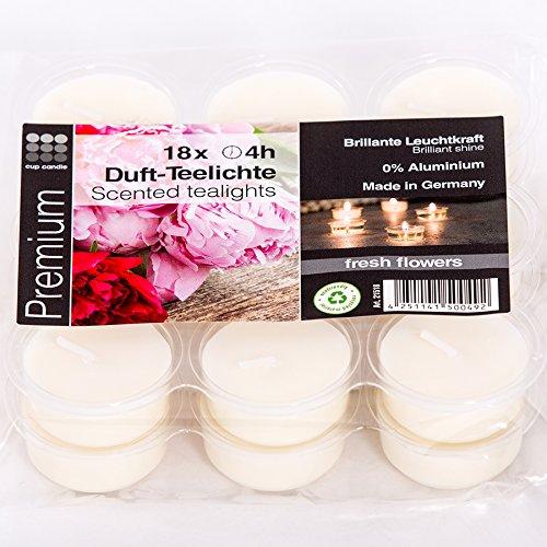 Cup Candle Fresh Flowers transparente transluzente durchsichtige Acryl Teelichter mit Duft 4 Stunden Brenndauer in grün ohne Aluminium zur Dekoration oder Festlichkeiten