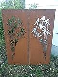 2st.symmetrisch Garten Sichtschutz aus Metall Rost Gartenzaun Gartendeko edelrost Sichtschutzwand PF0028 150*50*2CM