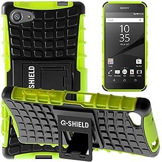 G-Shield Hülle für Sony Xperia Z5 Compact Stoßfest Schutzhülle mit Ständer Silikon Hybrid Armor Handyhülle mit Displayschutzfolie und Stylus - Grün