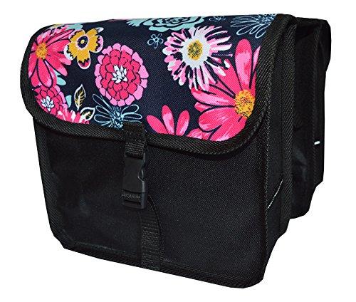 FAHRRADTASCHE Kinder Satteltasche Gepäckträgetasche Doppel 2 x 5l (8. Mini - Blumen)