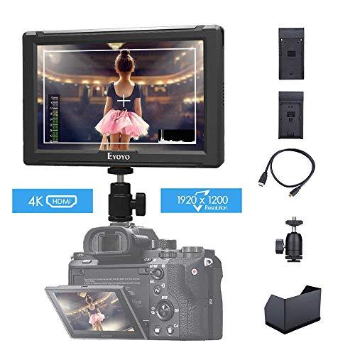 Eyoyo E7S 7 Pulgadas 1920x1200 IPS Pantalla Cámara Monitor de Campo Soporte 4K HDMI Input Loop Output Pantalla Cámara Field Monitor para Canon DSLR Cámara con placa batería F970 LP-E6 (E7S 1920x1200)