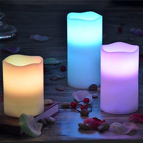 yakii LED sin llama Real de cera vela cambia de color, funciona con pilas velas con temporizador, Multi Función mando a distancia para seasonal Festival y celebración
