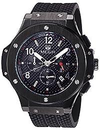 Indicador de 24 Hr cronógrafo MEGIR de los hombres de los relojes de los deportes de los militares 3ATM impermeable de las mujeres de los hombres de acero inoxidable de oro MN3002HHH