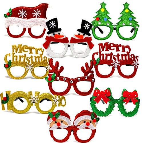 U&X Weihnachten Glitter Party Brille, Weihnachtsdekoration Kostüm Brille für Urlaub Gefälligkeiten, Kinder und Erwachsene (9 (Urlaub Kostüm Weihnachten)