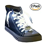 Nylon LED Light Up,Glow in the Dark,Glowing Shoelaces by Maxstrapz in 8 Different Colours,White,Blue,Pink,Red,Orange,Yellow,Green and Multi Colour,3 Flash Modes,for Parties,Running,Walking (white)