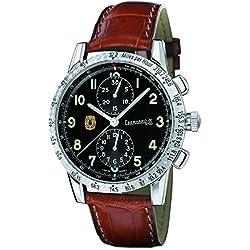 Clock Eberhard Tazio Nuvolari 31036CP Breaker quandrante Steel Black Leather Strap