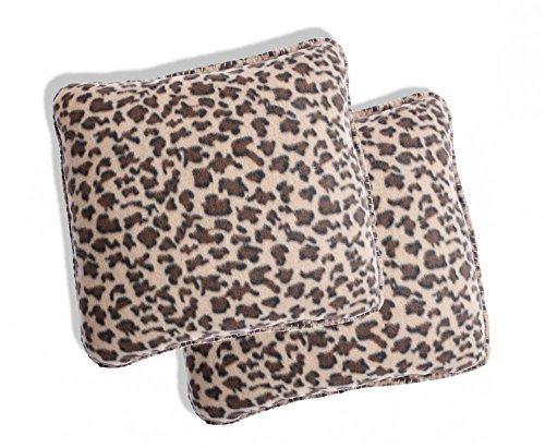 Holiday 2x Leopard Plüsch Fleece Kissenhüllen Kissenbezug Kissen Bezug 40x40 (Leopard Kissen)