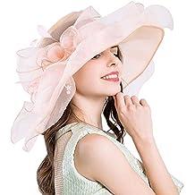 Sombrero de organza para mujer, de Aolvo, para iglesia y actividades al aire libre, protección contra los rayos UV, vintage, para novia, fiesta de té, boda, ...