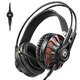AudioMX Auriculares de Juegos Estéreo con Cancelación Pasiva del Ruido Diadema Ajustable y Micrófono Retráctil para PS4 y PC