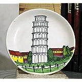 Turm von Pisa-Dekoriert Keramikplatte Hand Durchmesser Cm 15-MADE in Italien Lucca Toskana, Zertifikat.