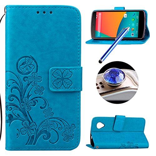 Etsue Lanyard/Strap für LG Nexus 5 [Blumen Baum Blatt] Leder Schutzhülle Ledertasche Case Muster, Bunte Retro Floral Leaf Painted Magnetverschluss Premium Leder Hülle Wallet Cover Flip Case Brieftasche Hülle Standfunktion Kartenfächer Handyhüllen für LG Nexus 5 + 1x Glitzer Staub Stecker + 1x Blau Eingabestift-Blau