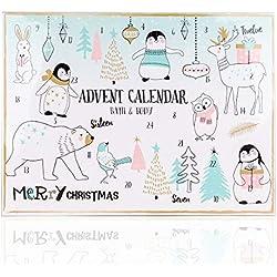 Calendario de Adviento Happy Holidays de Accentra, para niñas, con 24 productos de baño, cuidado corporal y accesorios para una variada y mimosa época de Adviento, 699 g