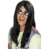 NET TOYS Travestimenti stile anni 60 parrucca da hippie capelli neri e  lunghi 920b63a7e88a