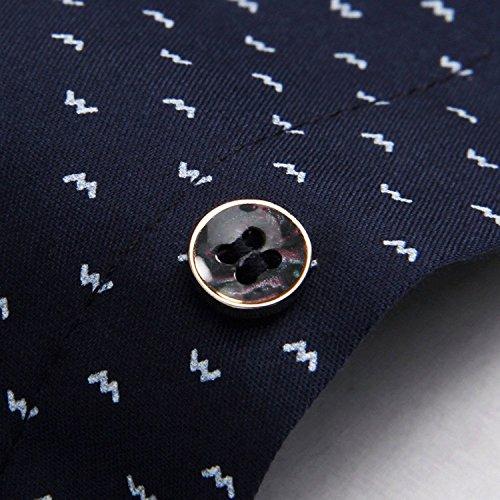 AIYINO Herren Freizeit Hemd Kariert Drucken Kontrast 100% Baumwolle Trachtenhemd 17-Navy