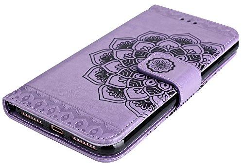 """Iphone 7 Coque silicone, Coque Iphone 7 silicone, Iphone 7 Protection, Nnopbeclik® Mode Fine Folio Wallet/Portefeuille en Bonne Qualité PU Cuir Housse (4.7 Pouce) """"Datura"""" fleur de Gaufrage Style Moti pourpre"""