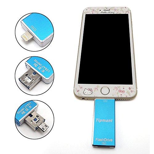 TipmantTM iPhone USB Flash Drive 32GB OTG-Flash-Speicher-Stick für Computer, iPhone & iPad (Lightning Connector) und Android Handy - Blau