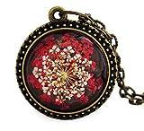 Miss Lovie Damen Kette Vintage Echte Blüten Halskette mit Anhänger Modeschmuck Schmuck - 25x25mm Cabochon Rot Bronze