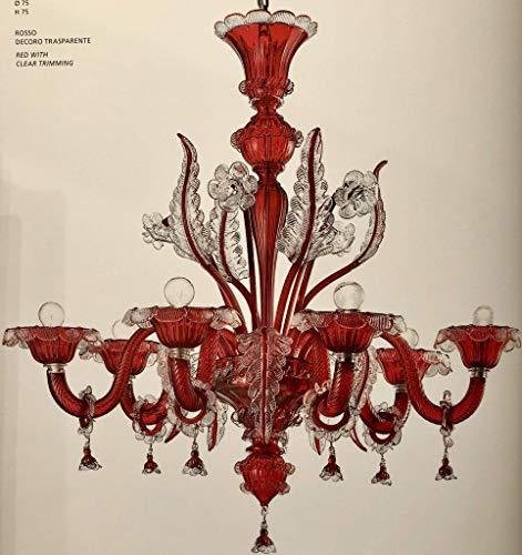 Reale lampadario classico vetro murano soffiato venezia murano cristallo rosso oro 5 luci made in italy