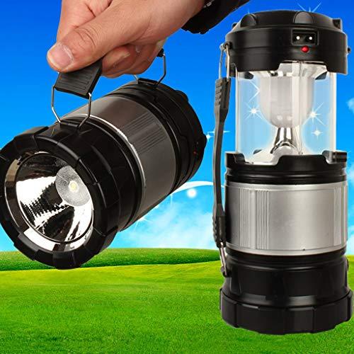 Outdoor Solar Camping Licht, Multifunktions Mobile Power Eingebauter Akku Tragbare Taschenlampe Bergmann Lampe A ++ (Color : Stretched 19.6cm-Black) (Vertikalen Griff Taktisches Licht)