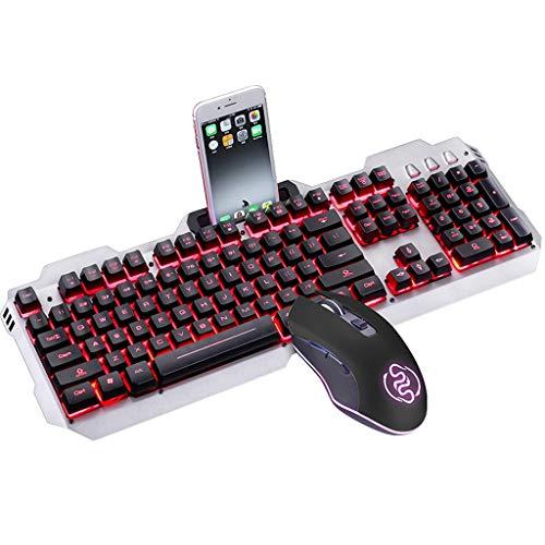 HourenJP Leuchtende Tastatur und optische Maus, wasserbeständige dreifarbige LED-Folientastatur mit doppelter Einspritzung in voller Größe, rutschfeste Tastatur für Girl Gamer Typist (Desktop Pro Mac Refurbished)