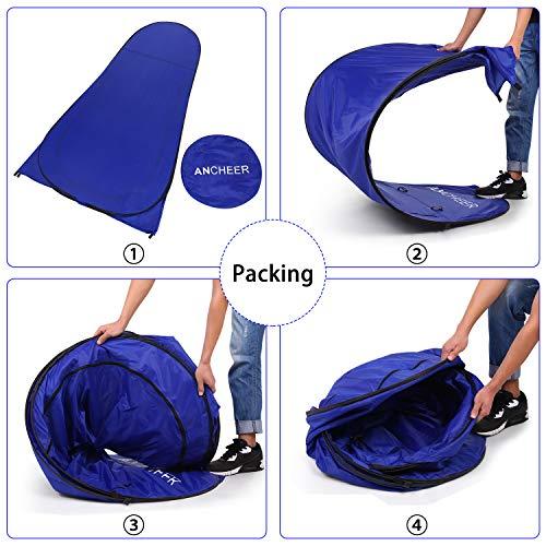 ANCHEER Ultraleichtes Segeltuch Umkleidezelt Pop up Zelt tragbares Duschzelt Outdoor WC Zelt Toilettenzelt für Camping (Blau) - 6