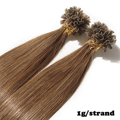 Extension capelli veri cheratina 1 grammo per ciocca 50g/pack u tip remy umani naturali lisci (45cm #6 castano)
