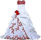 Zorayi Damen Elegante Kapelle Zug Prinzessin Ballkleid Brautkleid Hochzeitskleider Weiß & Rot Größe 44