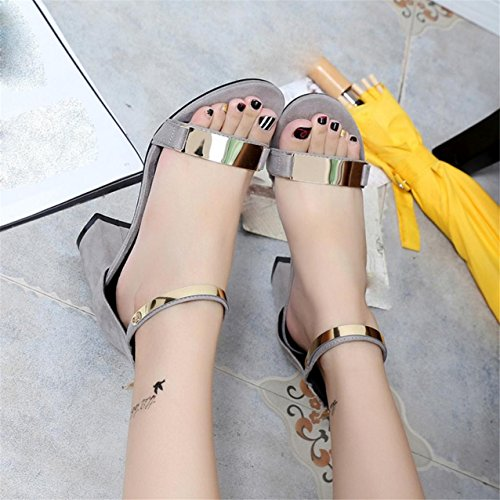 LHWY Damen Sandals Open Toe Frauen sandles Dick Heel Schuhe Gladiator shoes Gray dFRckf0a