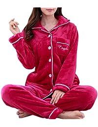 Pijamas Mujer Hombre 2 Piezas Conjuntos Elegante Manga Pantalon Largos,Suave Comodo y Agradable