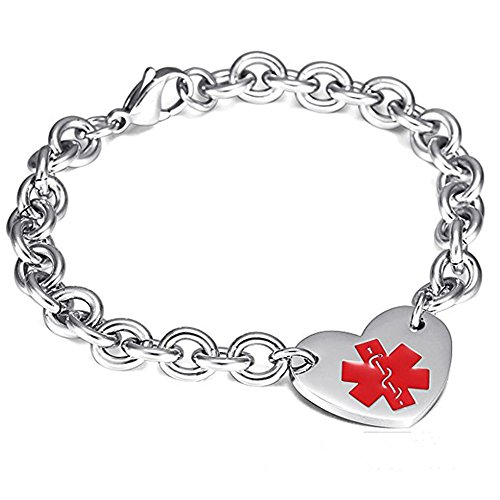 LF Edelstahl ICE Customized Personalisierte Medical Alert Herz Charm Link Armband Rolo Kette Medical Alert Armband Überwachung für Männer Frauen,Kostenlose Gravur - Medical Alert-herz