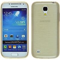 Funda de silicona para Samsung Galaxy S4 Mini - brushed oro - Cover PhoneNatic Cubierta + protector de pantalla