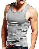 MODCHOK Herren Unterhemd Tank Top Muskelshirt Tankshirt Achselshirt Stringer Classics Fitness Hellgrau 1 S