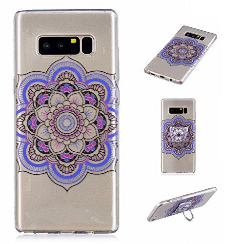 Preisvergleich Produktbild Galaxy Note 8 Case, Anlike Silikon Hülle für Samsung Galaxy Note 8 Handy Hülle Bunte Muster Design {Fingerfunktion Stent-Funktion} Schutzhülle Etui Bumper für Samsung Galaxy Note 8 - Totem Blume