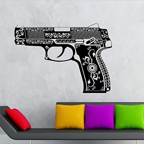 jiuyaomai Vinyl Wandtattoo Schöne Pistole Wandaufkleber Waffe Ornament Dekoration Wandkunst Wandvinyl Waffe braun 118x84 cm