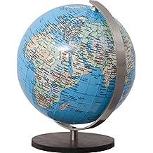 COLUMBUS DUO: Miniglobus, politisch, unbeleuchtet, handkaschiert, 12 cm Durchmesser, Holzfuß braun, Meridian edelstahl, ting-kompatibel, TING: Informationen über Bevölkerungszahlen und Hauptstädte