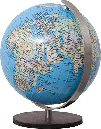 COLUMBUS DUO: Miniglobus, politisch, unbeleuchtet, handkaschiert, 12 cm Durchmesser, Holzfuß braun, Meridian edelstahl, ting-kompatibel, TING: Informationen über Bevölkerungszahlen und Hauptstädte (Weltkarte Im Klassenzimmer)