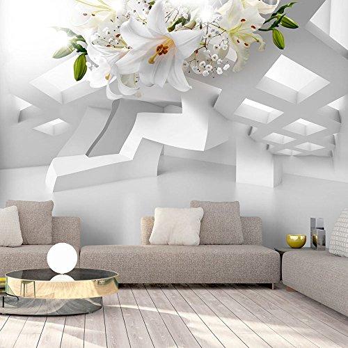 murando - Fototapete Blumen Lilien 350x245 cm - Vlies Tapete - Moderne Wanddeko - Design Tapete - Wandtapete - Wand Dekoration - Abstrakt Blume 3D Illusion Optik a-A-0296-a-a Wand Illusion