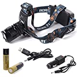 XCSOURCE 4000LM CREE XML L2 LED 5-Mode Zoomable Headlamp + 2 x 2600mAh 18650 Rechargeable Battery + Car Charger + USB Cable LD419