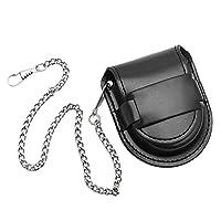 Gaoominy Vintage Leather Chain Pocket Watch Holder Storage Case Box Black