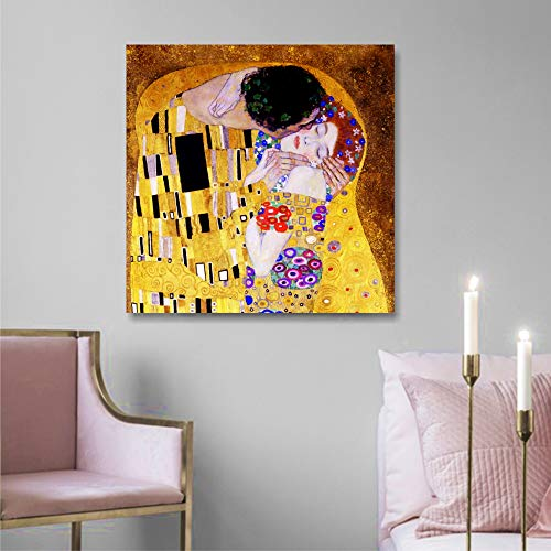 Quadri L&C ITALIA Klimt Il Bacio | Quadro Moderno Stampa su Tela Canvas Made in Italy 50 x 50 cm | Riproduzioni Arte Gustav Salotto, Soggiorno, Camera Letto, Ristorante