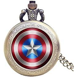 Capitán América Shield efecto Retro/Vintage caso reloj de cuarzo de bronce antiguo reloj de bolsillo collar–en 32pulgadas/80cm cadena