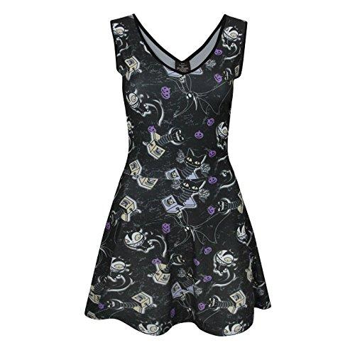 istmas Damen Kleid mit Vampir-Teddy-Muster (M) (Schwarz) ()