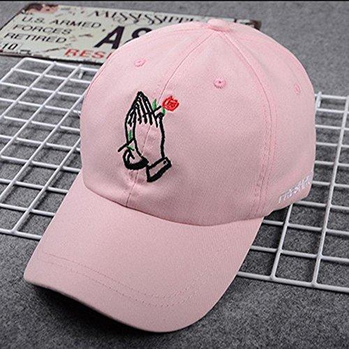 Llxln Mode Stickerei Rose Caps Verstellbar Baumwolle Hip Hop Polo Cap Unisex Damen Herren Baseball Capspink
