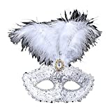 Venezianische Venetianische mit Federn und Stein Weiß Stoffbezug Maske Maske Maskerade Karneval Fasching Verkleidung Kostüm Halloween Party Maskenball Ball Shades of Grey Mr Grey Mitternacht