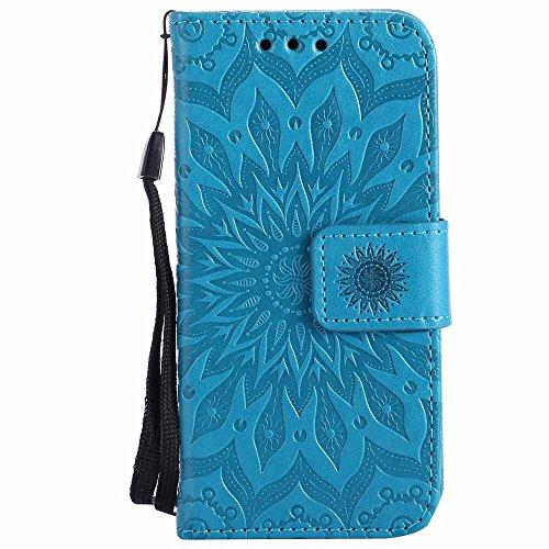 iPod Touch 5 / iPod Touch 6 Hülle, EST-EU Prämie Veganes Leder Elegantes Geprägtes Sonnenblume Blumenmuster Ultra dünn Flip Brieftasche Hülle mit Ständer und Trageschlaufe für iPod Touch 5/6, Blau Premium Ipod Touch