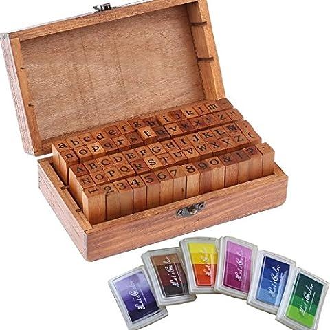 70pcs caoutchouc Timbres lettres Alphabet lettres Stampers artisanat Boîte en bois pour les enfants - vintage en caoutchouc en caoutchouc numéro de lettrage Set + six tampon d'encre coloré par