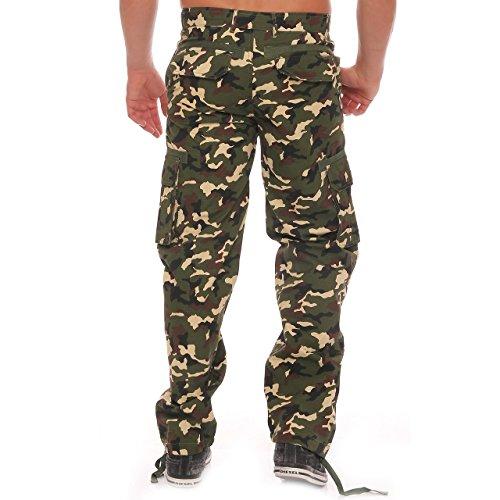 Finchman Herren Cargo Hose Freizeithose Regular Fit Mehrfarbig Army Militär Woodland