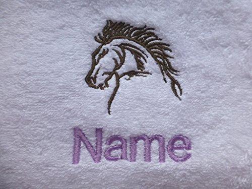 Preisvergleich Produktbild Waschlappen, Handtuch, Badetuch oder Badelaken personalisiert mit Pferd Kopf Logo und Namen Ihrer Wahl, 100 % Terry-Baumwolle, White, Black, Aqua, Cream, Chocolate, Navy Blue, Sky Blue, Face Cloth 30x30cm