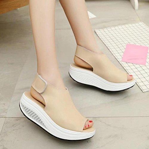 Omiky® Mode Frauen Shake Schuhe Sommer Sandalen Thick Bottom Higt Ferse  Schuhe Beige ...