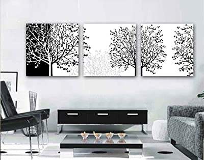 Contemporary Black and White Abstract Art Trees, Modern Wall Decor, 3 Panel Giclee Canvas Print, Ready to Hang #06-03